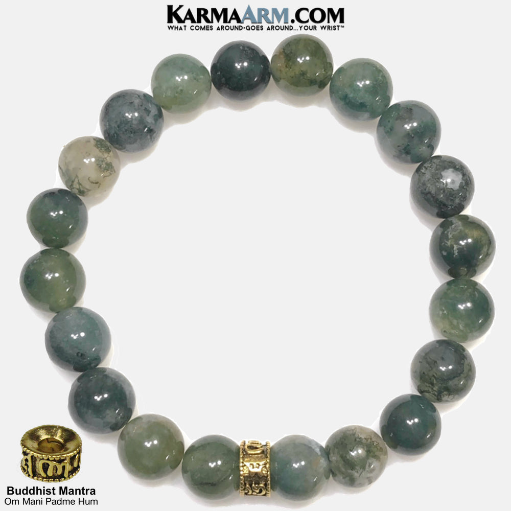 Buddhist Mantra Meditation Yoga Bracelets. Self-Care Wellness Wristband Mantra Jewelry. Green Moss Agate. Om Mani Padme Hum 10mm Gold.