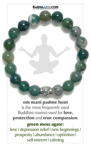 Buddhist Mantra Meditation Yoga Bracelets. Self-Care Wellness Wristband Mantra Jewelry. Green Moss Agate. Om Mani Padme Hum 10mm Silver Barrel.