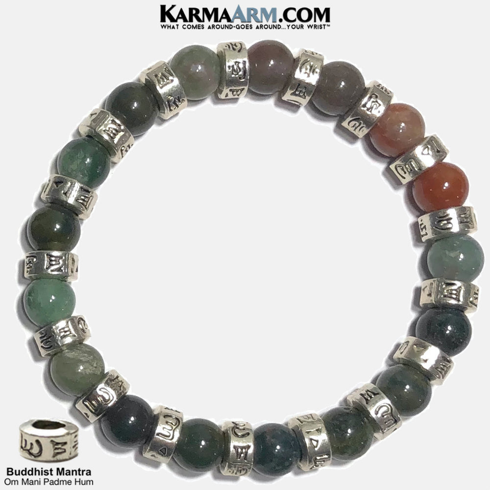 Buddhist Mantra Om Manai Padme Hum Meditation Self-Care Wellness Mantra Yoga Bracelets. Mens Wristband Jewelry. Indian Agate.