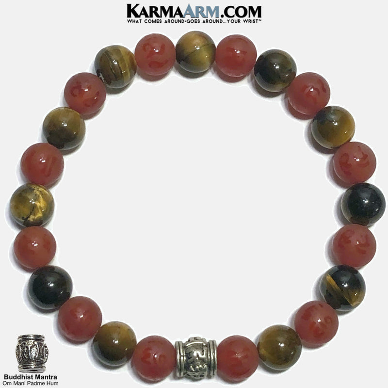 Buddhist Mantra Om Mani Padme Hum Meditation Self-care wellness Mantra Yoga Bracelets. Mens Wristband Jewelry. Tiger Eye. Red Agate.