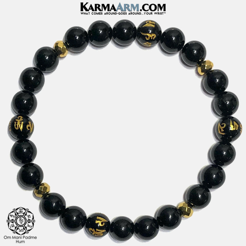 Buddhist Mantra Self-Care Wellness Meditation Yoga Bracelets. Mens Wristband Jewelry. Black Agate Onyx Hematite.