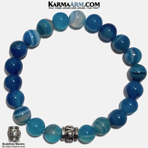 Buddhist Meditation Self-Care Wellness Mantra Yoga Bracelets. Mens Wristband Jewelry. Blue Banded Agate. copy