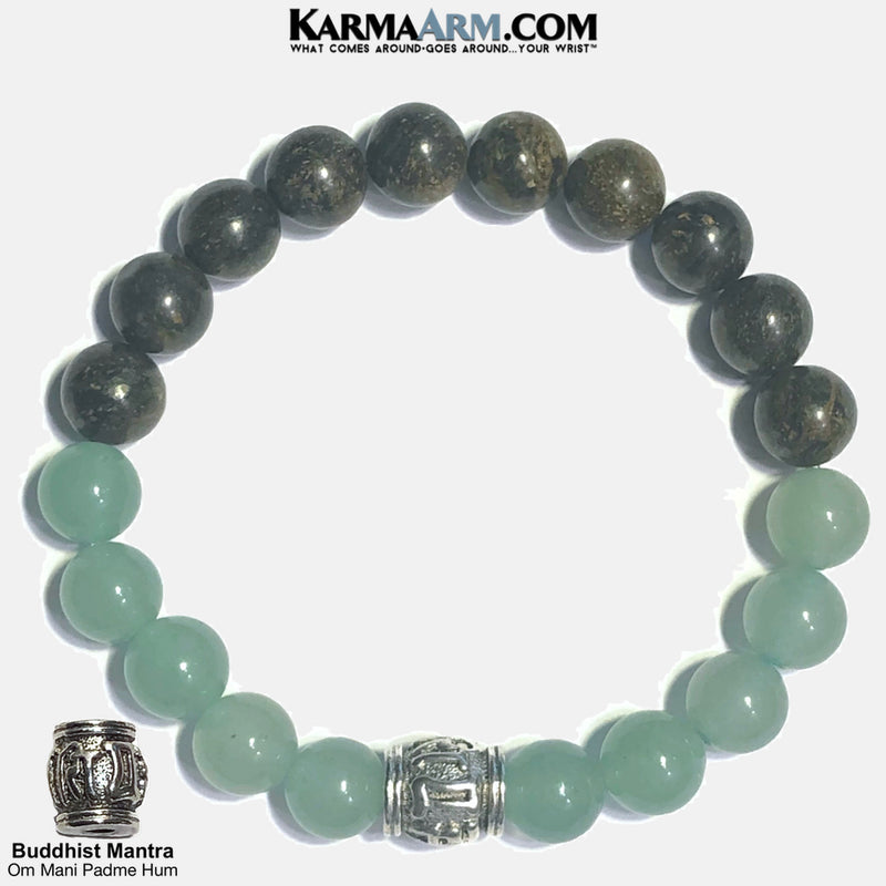 Buddhist Om Mani Padme Hum Self-Care Wellness Meditation Yoga Bracelets. Mens Wristband Jewelry. Bronzite. Green Aventurine.