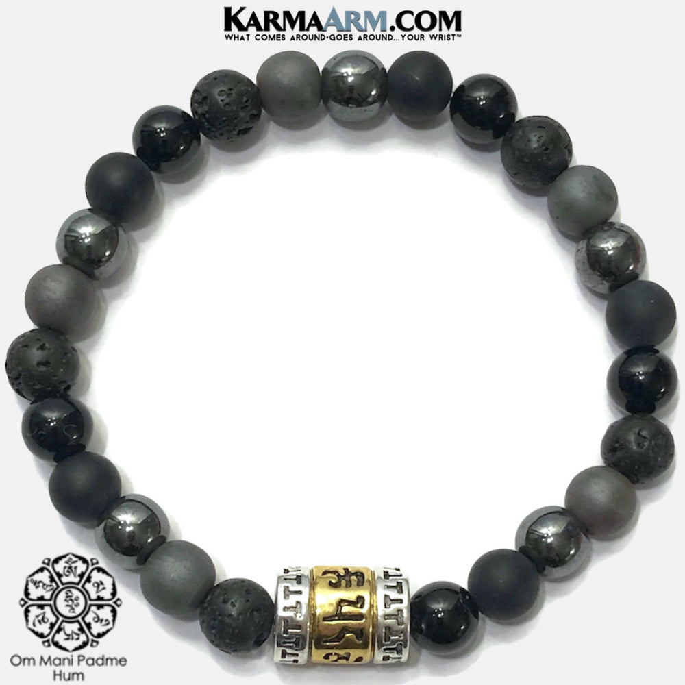 Buddhist Om Mani Padme Hum  Wellness Self-Care Meditation Yoga Bracelets. Mens Wristband Jewelry. Hematite lava onyx.