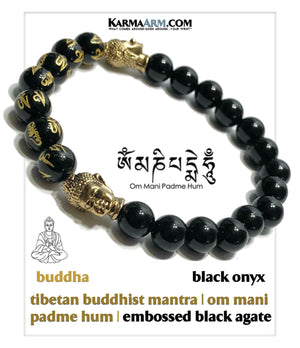 Buddhist Buddha Mantra Self-Care Wellness Meditation Yoga Bracelets. Mens Wristband Jewelry. Black Agate.