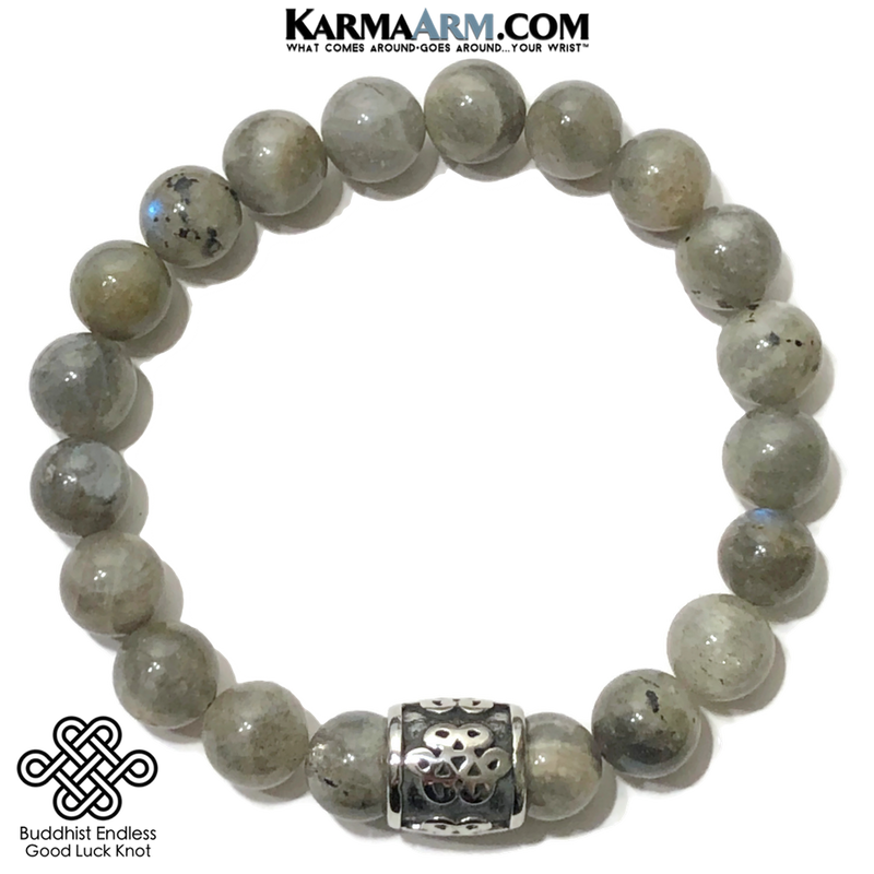 Buddhist Endless Infinity Knot Meditation Mantra Yoga Bracelets. Mens Wristband Jewelry. Labradorite.