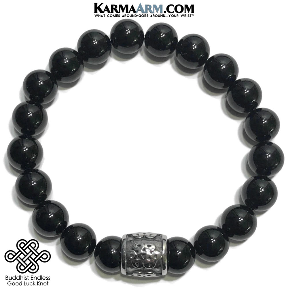Buddhist Knot Infinity Eternity Meditation Wellness Self-Care  Yoga Bracelets. Mens Wristband Jewelry. Black Onyx.