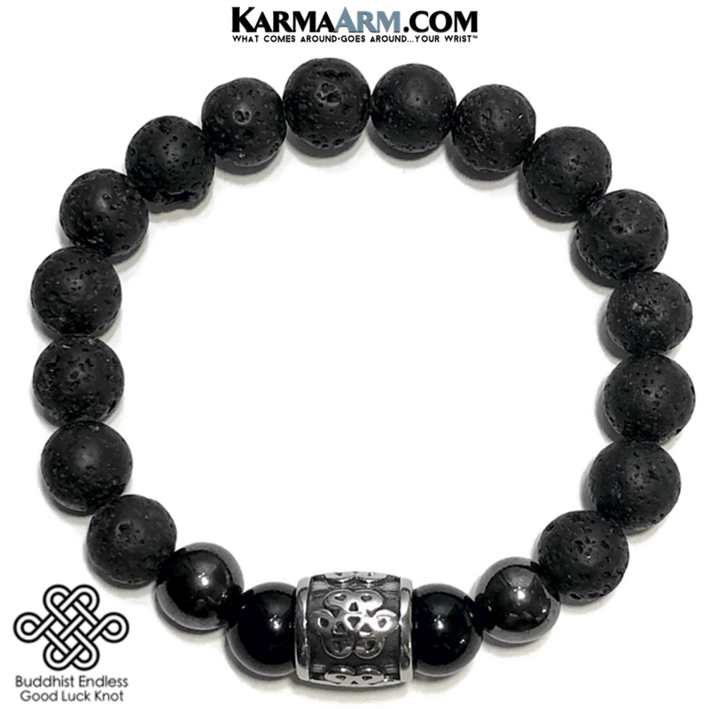Buddhist Knot Meditation Self-Care Wellness Mantra Yoga Bracelets. Mens Wristband Jewelry. lava Onyx Hematite.