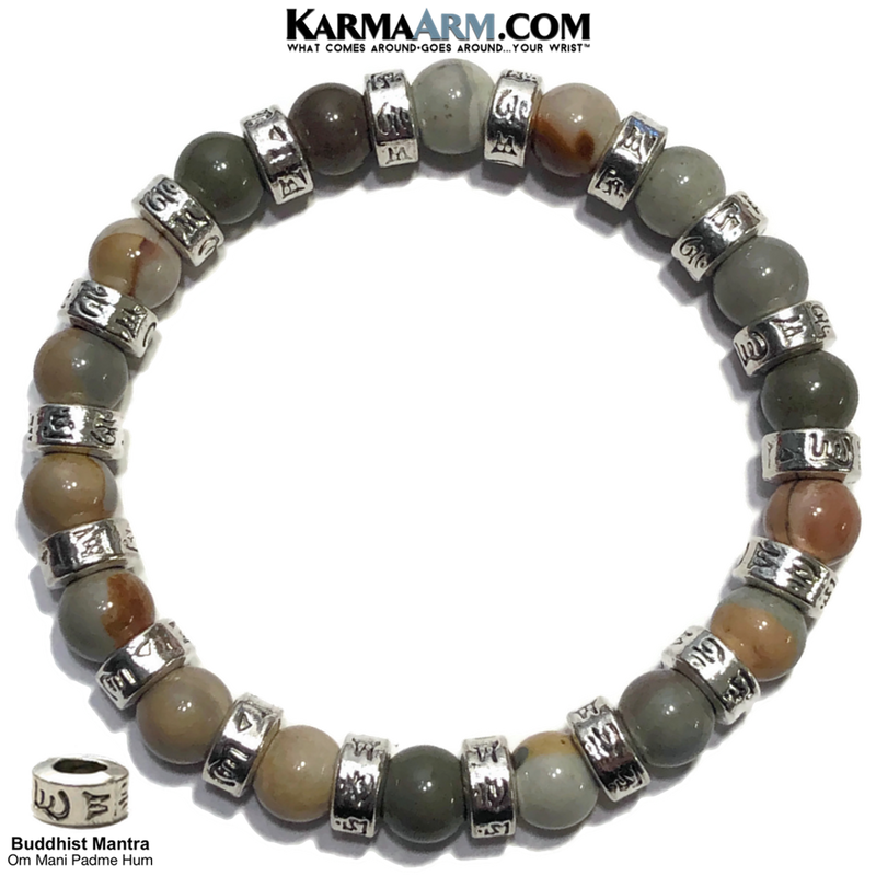 Buddhist Mantra Self-Care Meditation Wellness Yoga Bracelets. Mens Wristband Jewelry. Ocean Jasper.