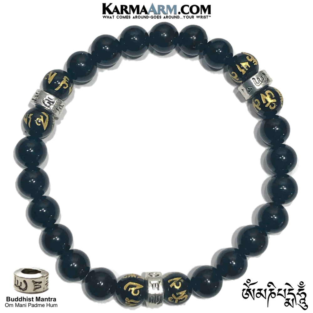 Buddhist Mantra Self-Care Wellness Meditation Yoga Bracelets. Mens Wristband Jewelry. Black Agate.