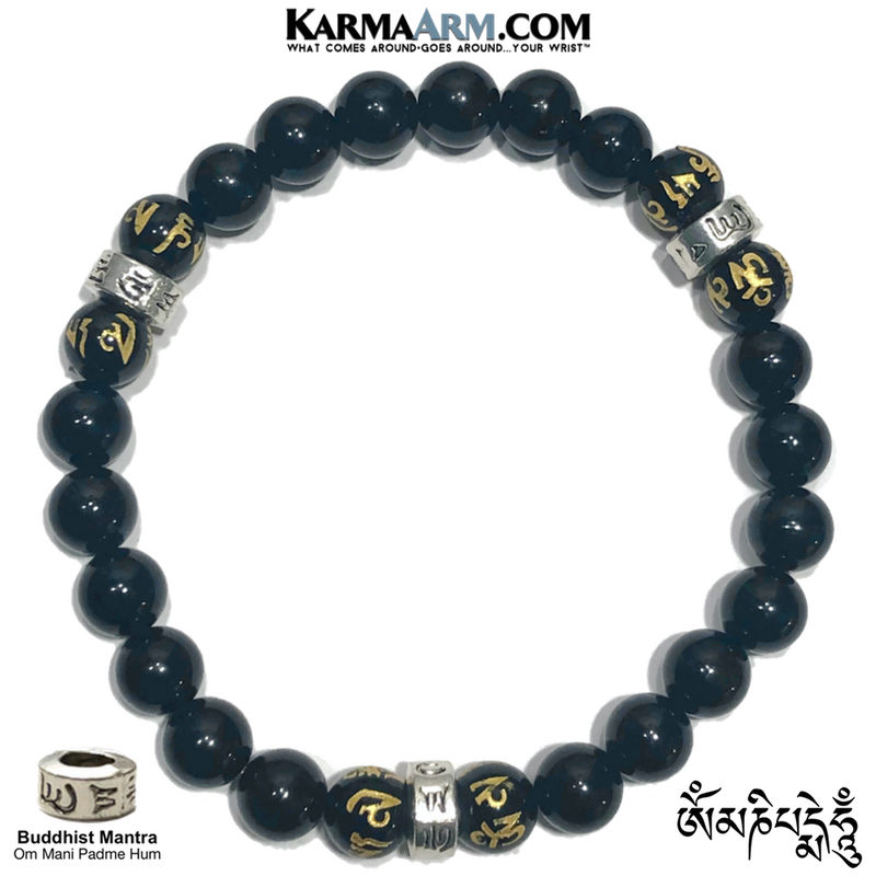 Buddhist Mantra Wellness Self-Care Meditation Yoga Bracelets. Mens Wristband Jewelry.  Black Agate.