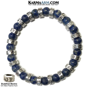 Buddhist Mantra Wellness Meditation Mantra Yoga Bracelets. Mens Wristband Jewelry. Lapis.
