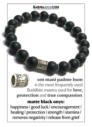 Buddhist Mantra Meditation Wellness Self-Care  Yoga Bracelets. Om Mani Padme Hum. Mens Wristband Jewelry. Black Onyx.