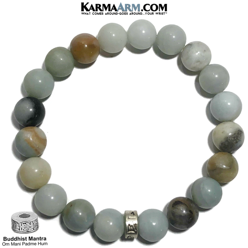 Buddhist Meditation Mantra Yoga Bracelets. Mens Wristband Jewelry. Amazonite. 10mm Om Mani Padme Hum.