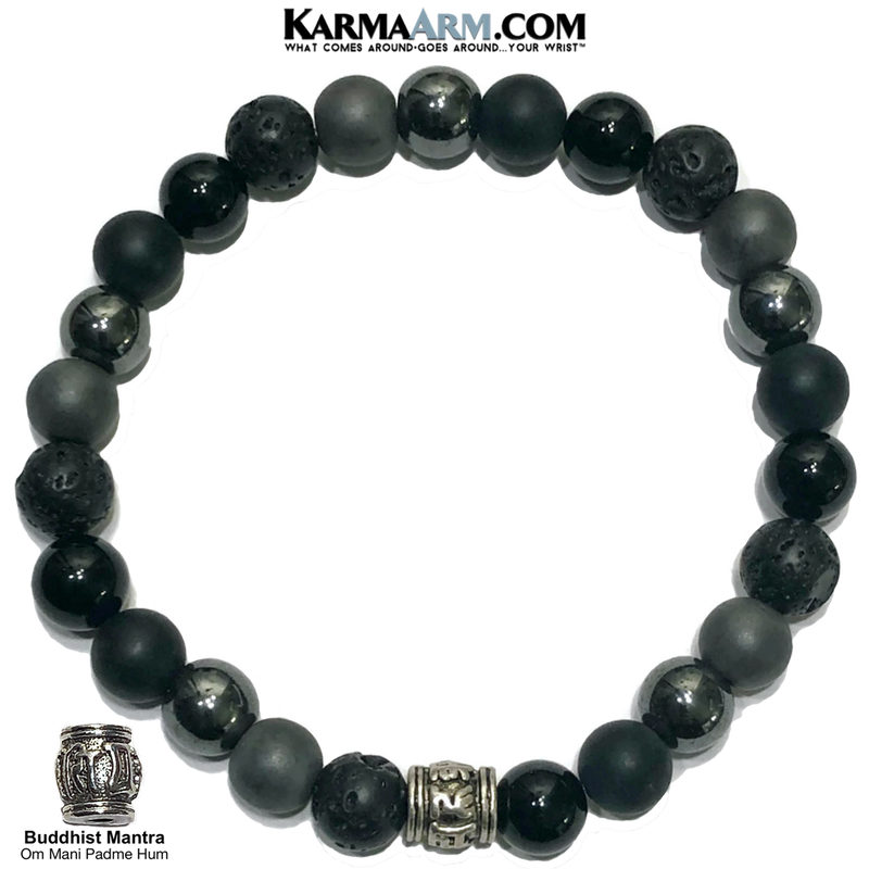 Buddhist Mindfulness Meditation Self-Care Wellness Mantra Yoga Bracelets. Mens Wristband Jewelry. lava Onyx Hematite.