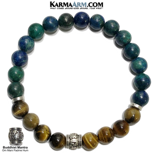 Buddhist Om Mani Padme Hum Meditation Self-care wellness Mantra Yoga Bracelets. Mens Wristband Jewelry. Tiger Eye.