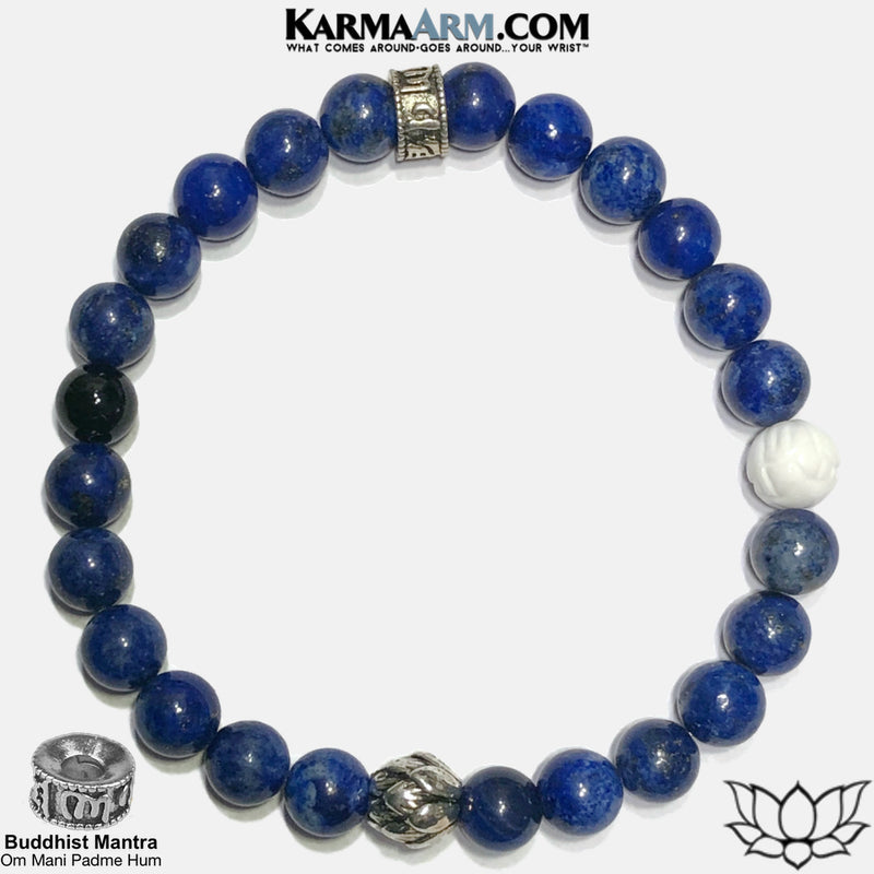 Buddhist mantra om mani padme hum Lotus Meditation Self-Care Wellness Mantra Yoga Bracelets. Mens Wristband Jewelry. Lapis.  copy