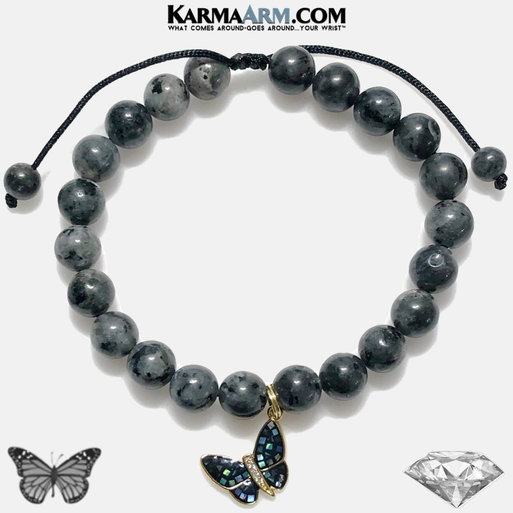 Butterfly Moonstone Meditation Self-Care Wellness Yoga Bracelets. Mens Wristband Mantra Jewelry. Black Labradorite.
