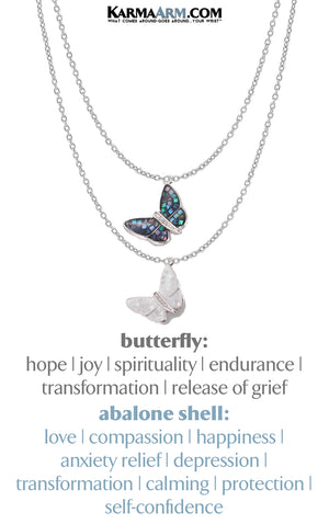 Butterfly Shell Necklace. Mindfulness SelfCare Jewelry. Silver.