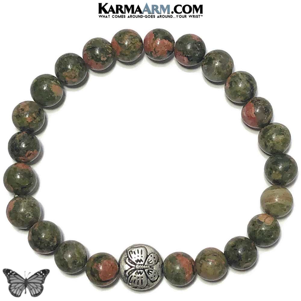 Butterfly Meditation Mantra Yoga Bracelet. Self-Care Wellness Wristband Unakite.