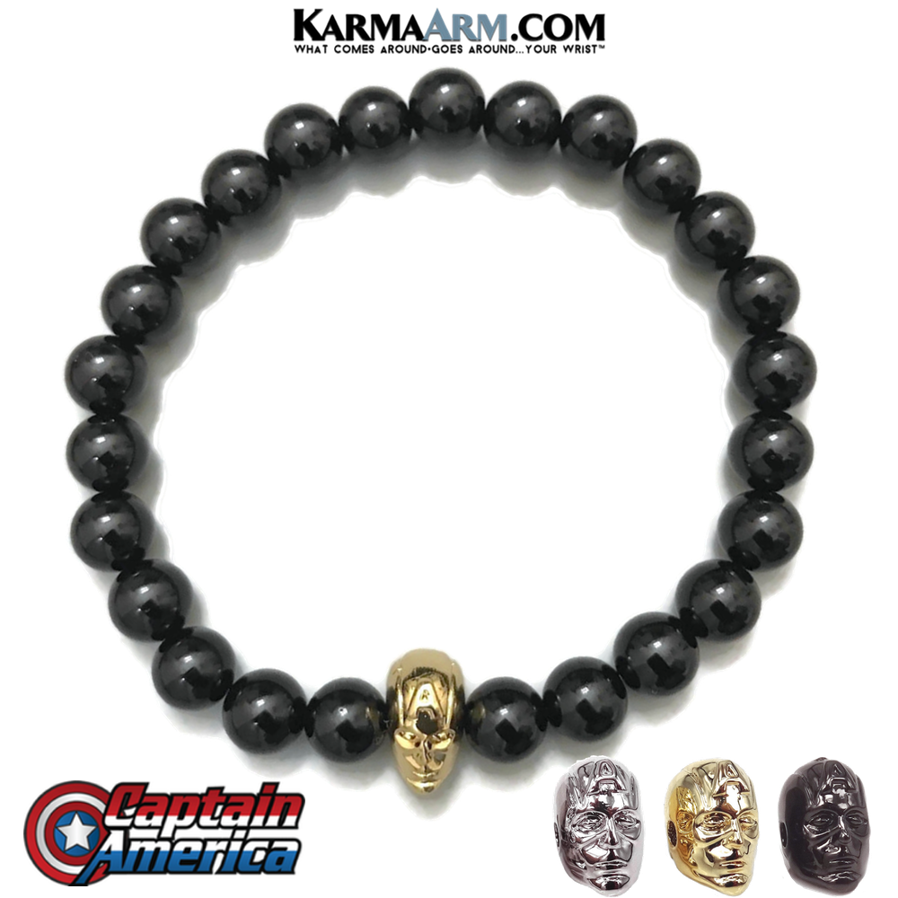 CAPTAIN AMERICA MARVEL AVENGERS Meditation Self-Care Wellness  Yoga Bracelets. Mens Wristband Jewelry. Black Onyx.