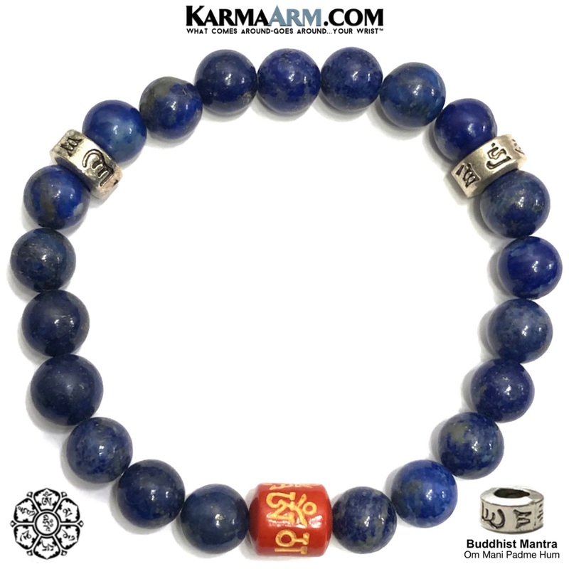 CINNABAR Om Mani Padme Hum Meditation Self-Care Wellness Mantra Yoga Bracelets. Mens Wristband Jewelry. Lapis.