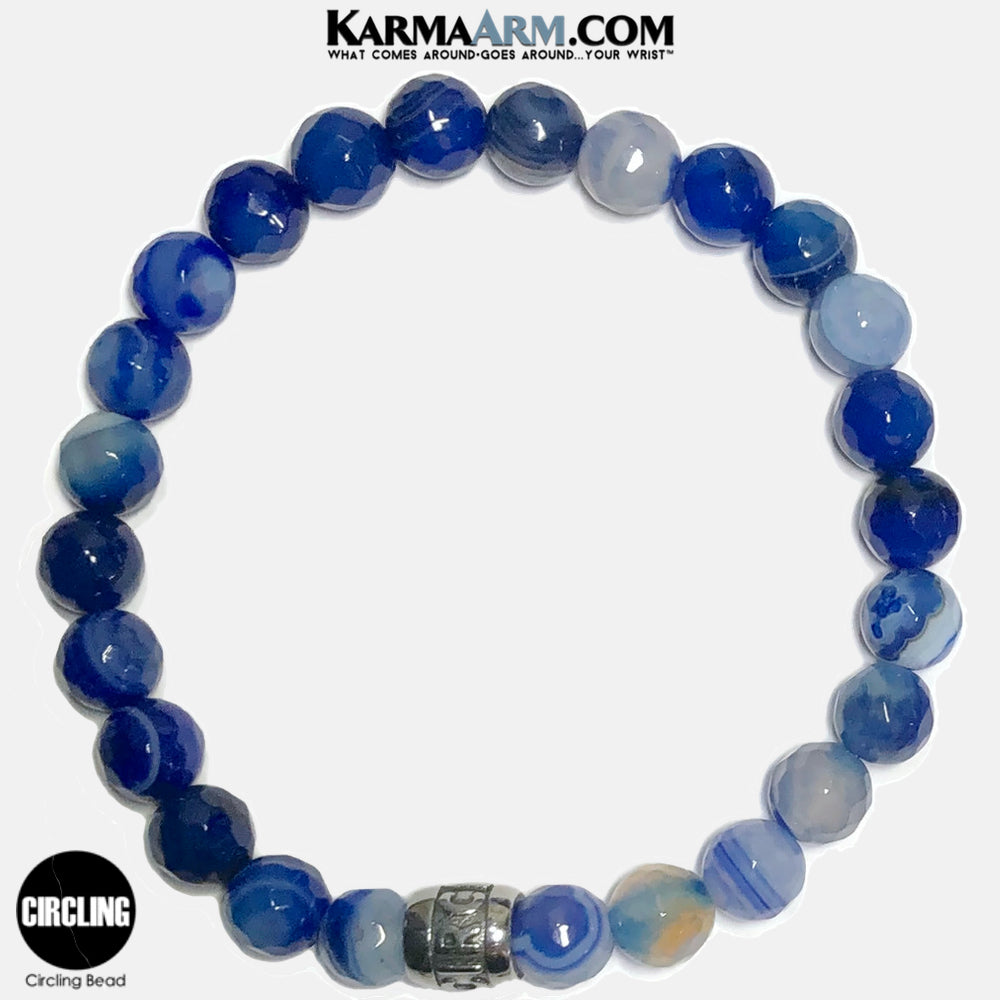 CIRCLING Meditation Mantra Yoga Bracelets. Self-Care Wellness Wristband Jewelry. Faceted Blue Banded Agate.
