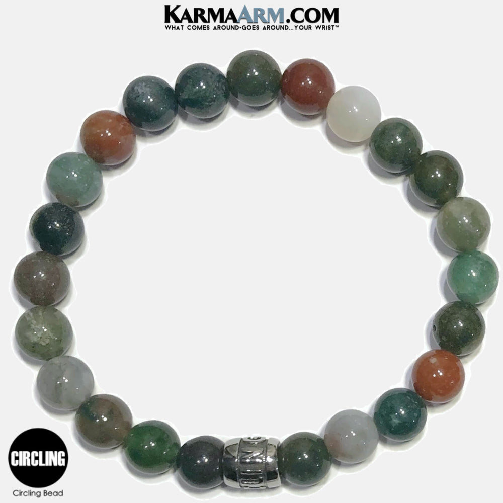 CIRCLING Meditation Mantra Yoga Bracelets. Self-Care Wellness Wristband Jewelry. Indian Agate.