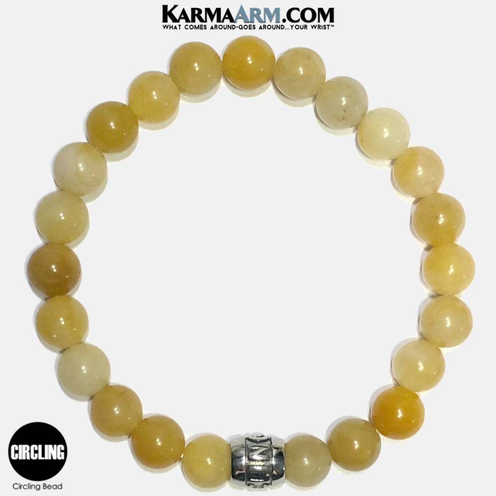 CIRCLING Meditation Mantra Yoga Bracelets. Self-Care Wellness Wristband Jewelry. Yellow Aventurine. copy 2