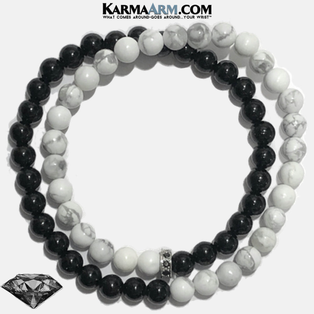 CZ Diamond Meditation Mantra Yoga Bracelets. Self-Care Wellness Wristband White Turquoise. Black Onyx.