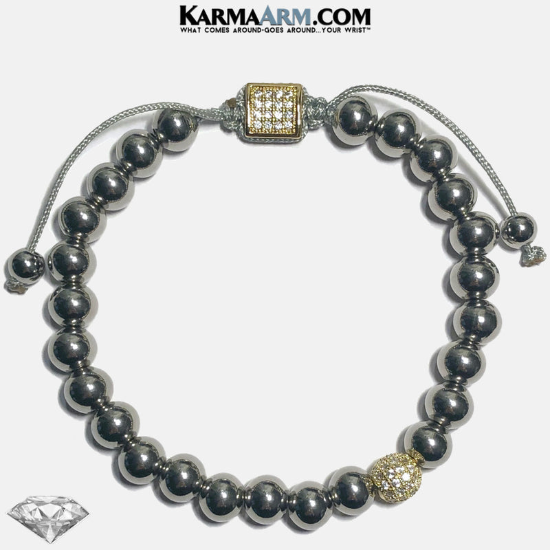 Diamond Meditation Yoga Bracelet. Mantra Bead Self-Care Wellness Wristband.  Stainless Gold.