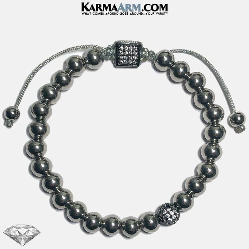 CZ Diamond Stainless Steel Meditation Self-Care Wellness Mantra Yoga Bracelet. Bead Wristband. Gunmetal.