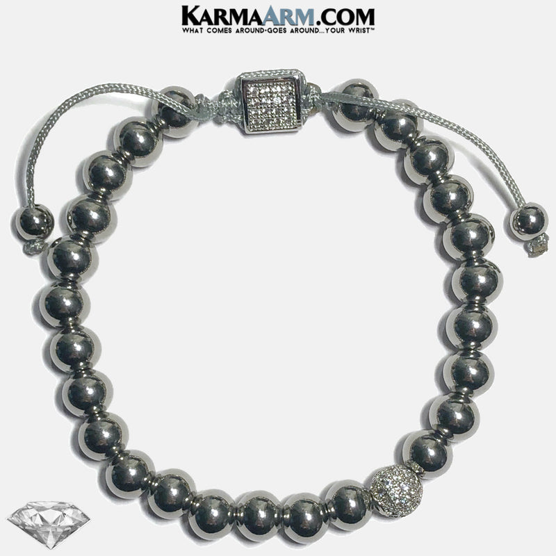 MAKING A COMEBACK | Stainless Steel | PLATINUM CZ Diamond Pull Tie Bracelet