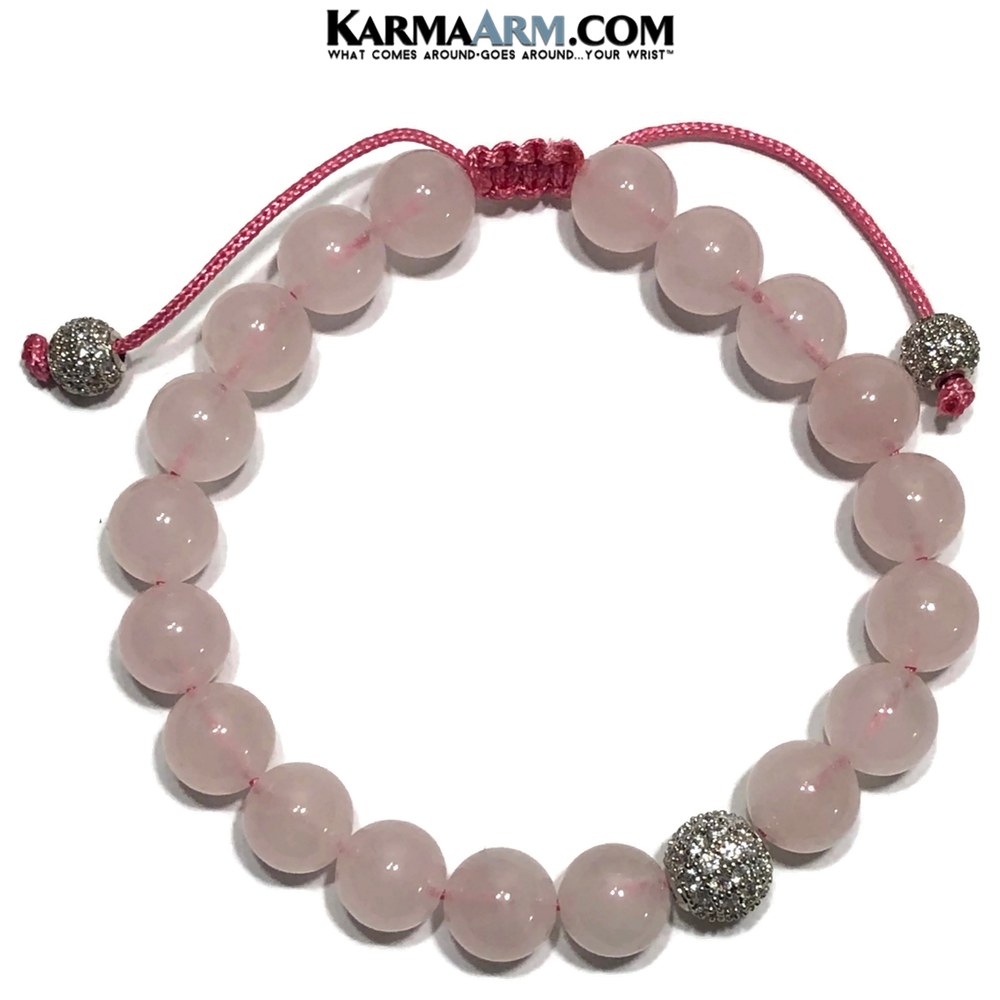 CZ Diamond Ball Meditation Self-Care Yoga Bracelet. Wellness Wristband Yoga Jewelry. Rose Quartz.