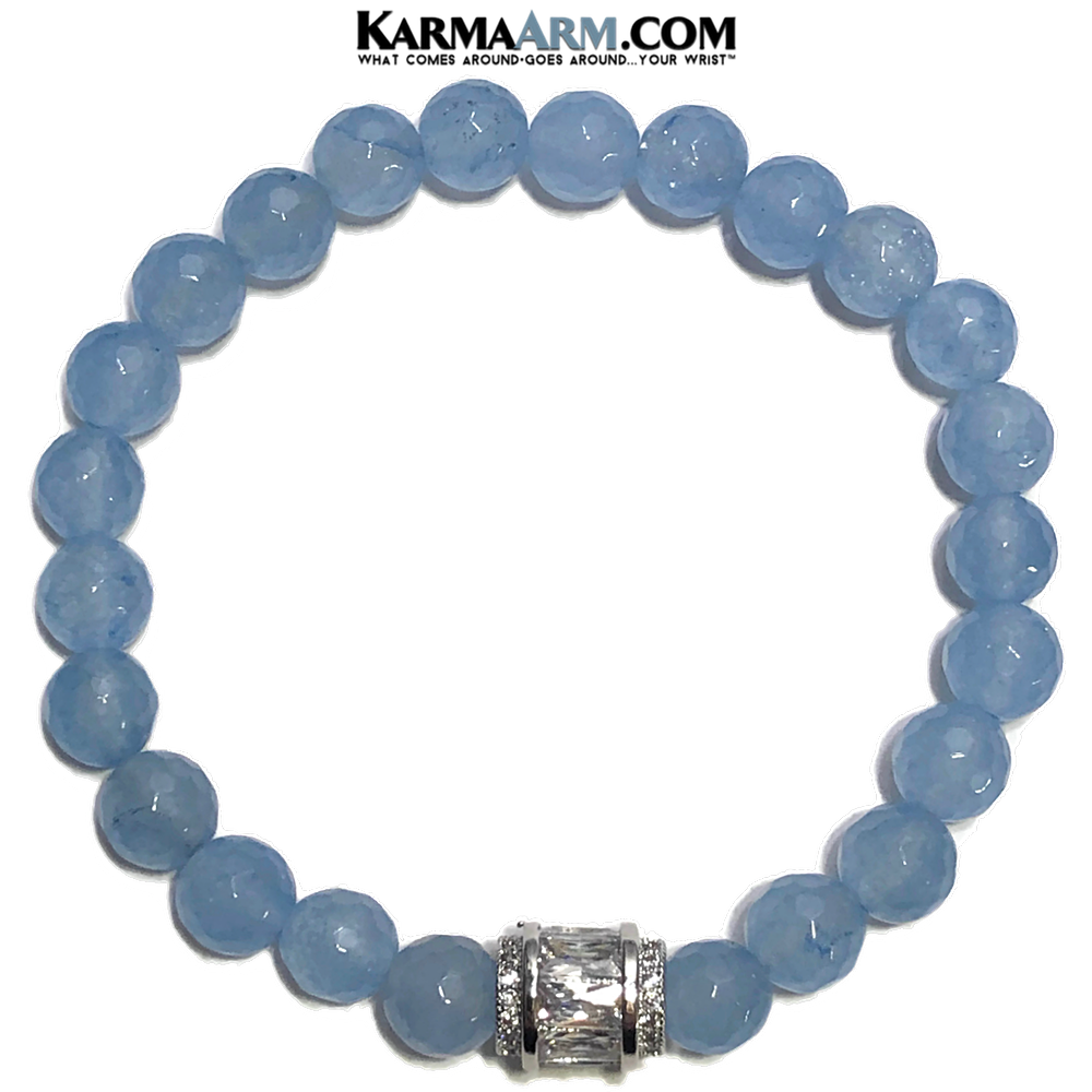 CZ Diamond Meditation Mantra Yoga Bracelets. Mens Wristband Jewelry. Blue Jade. Barrel.