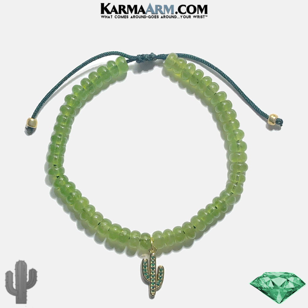 Cactus Meditation Mantra Yoga Bracelets. Self-Care Wellness Wristband Jewelry. Green Jade. copy