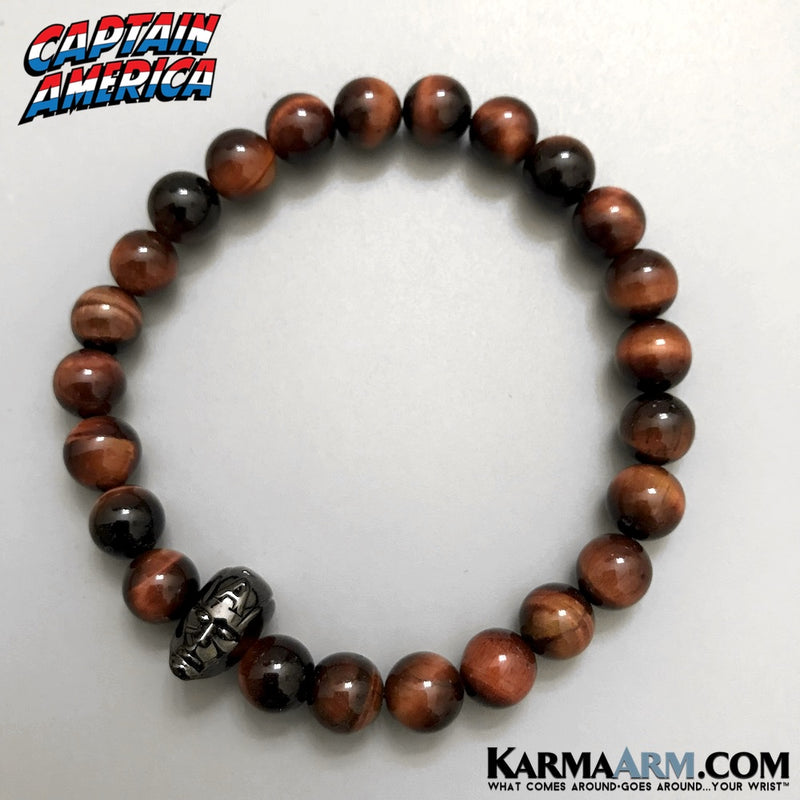 Captain America Bracelets. Marvels Avengers Infinity Jewelry. Mens Bracelets. Marvel Bracelets. Red Tigers Eye Bracelets.