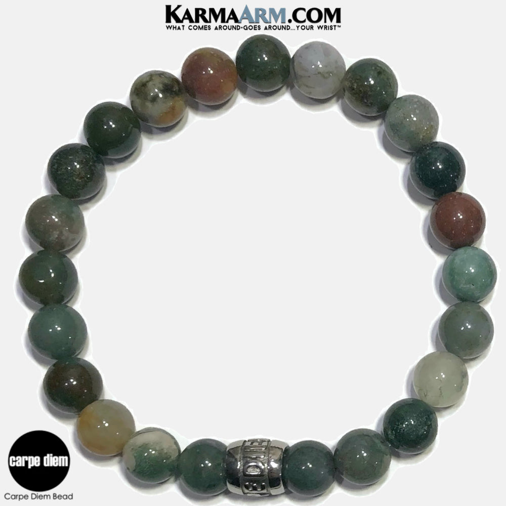 Carpe Diem Meditation Mantra Yoga Bracelets. Self-Care Wellness Wristband Jewelry. Indian Agate.