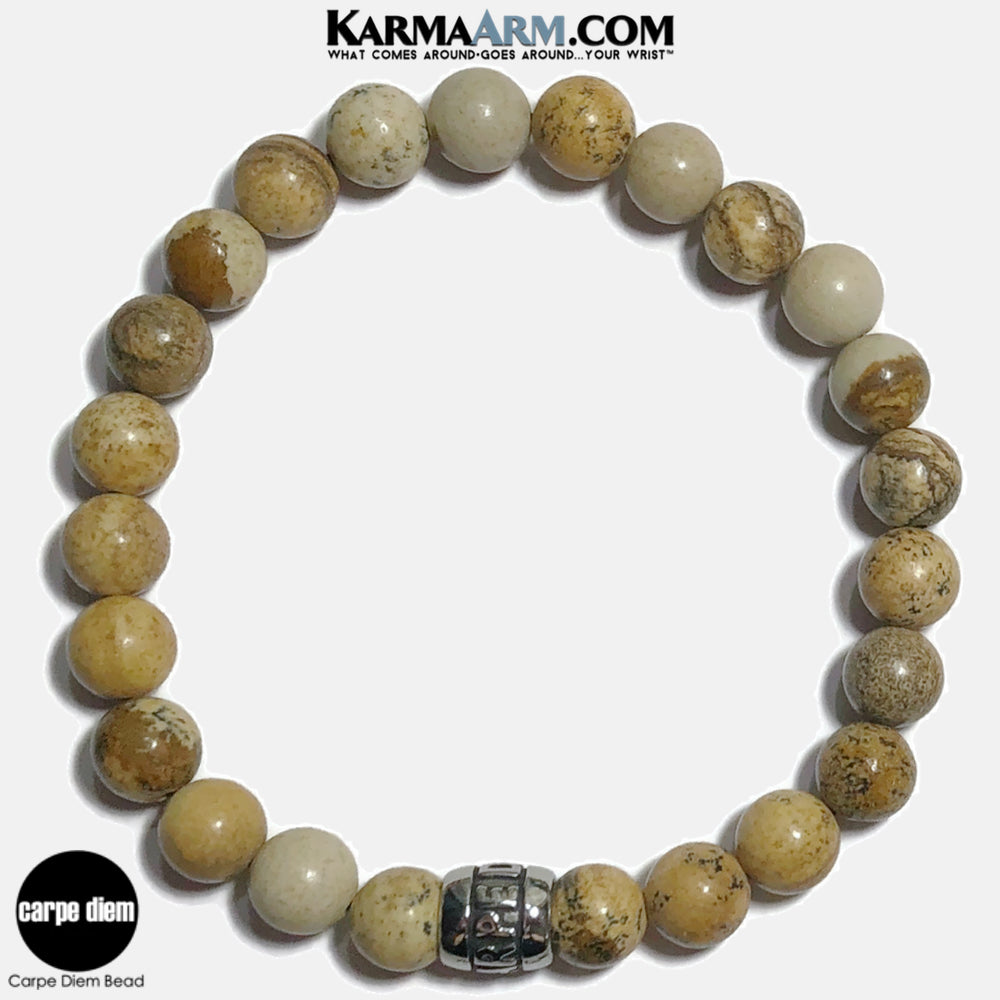Carpe Diem Meditation Mantra Yoga Bracelets. Self-Care Wellness Wristband Jewelry. Picture Jasper.