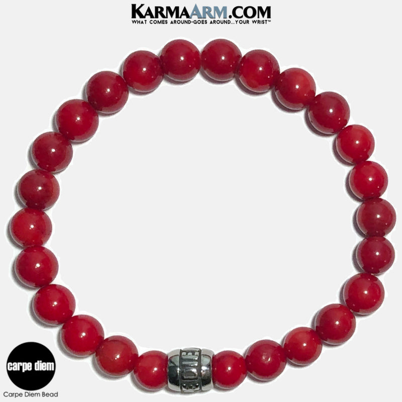 Carpe Diem Meditation Mantra Yoga Bracelets. Self-Care Wellness Wristband Jewelry.Red Coral.