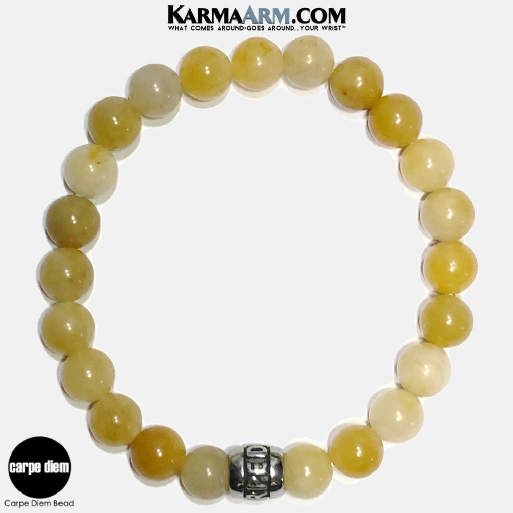 Carpe Diem Meditation Mantra Yoga Bracelets. Self-Care Wellness Wristband Jewelry. Yellow Aventurine. copy 2