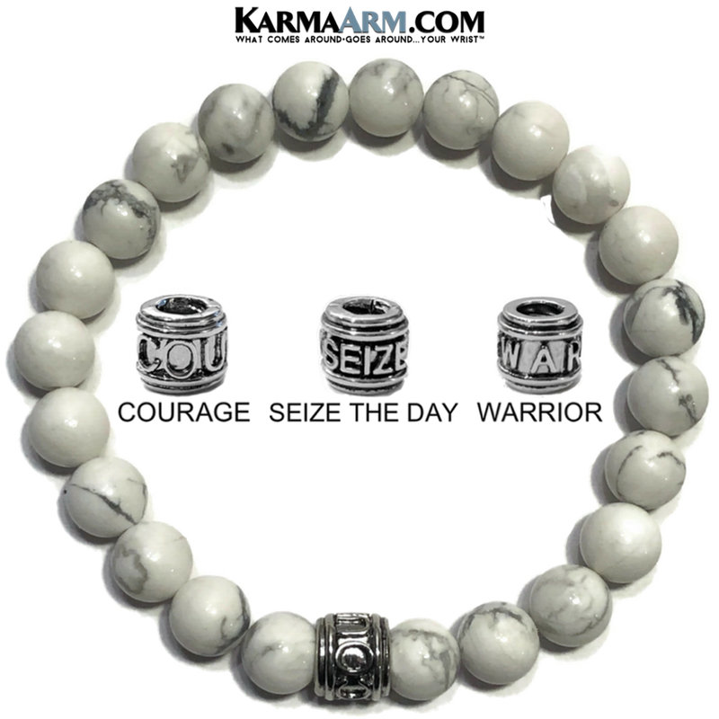 Carpe Diem Warrior Seize Courage Meditation Mantra Yoga Bracelet. Self-Care Wellness Wristband White Turquoise.