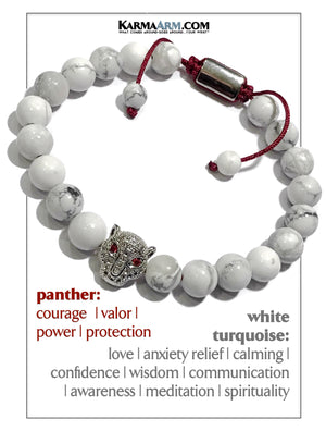 Cartier Panther Meditation Mantra Yoga Bracelet. Self-Care Wellness Wristband White Turquoise.