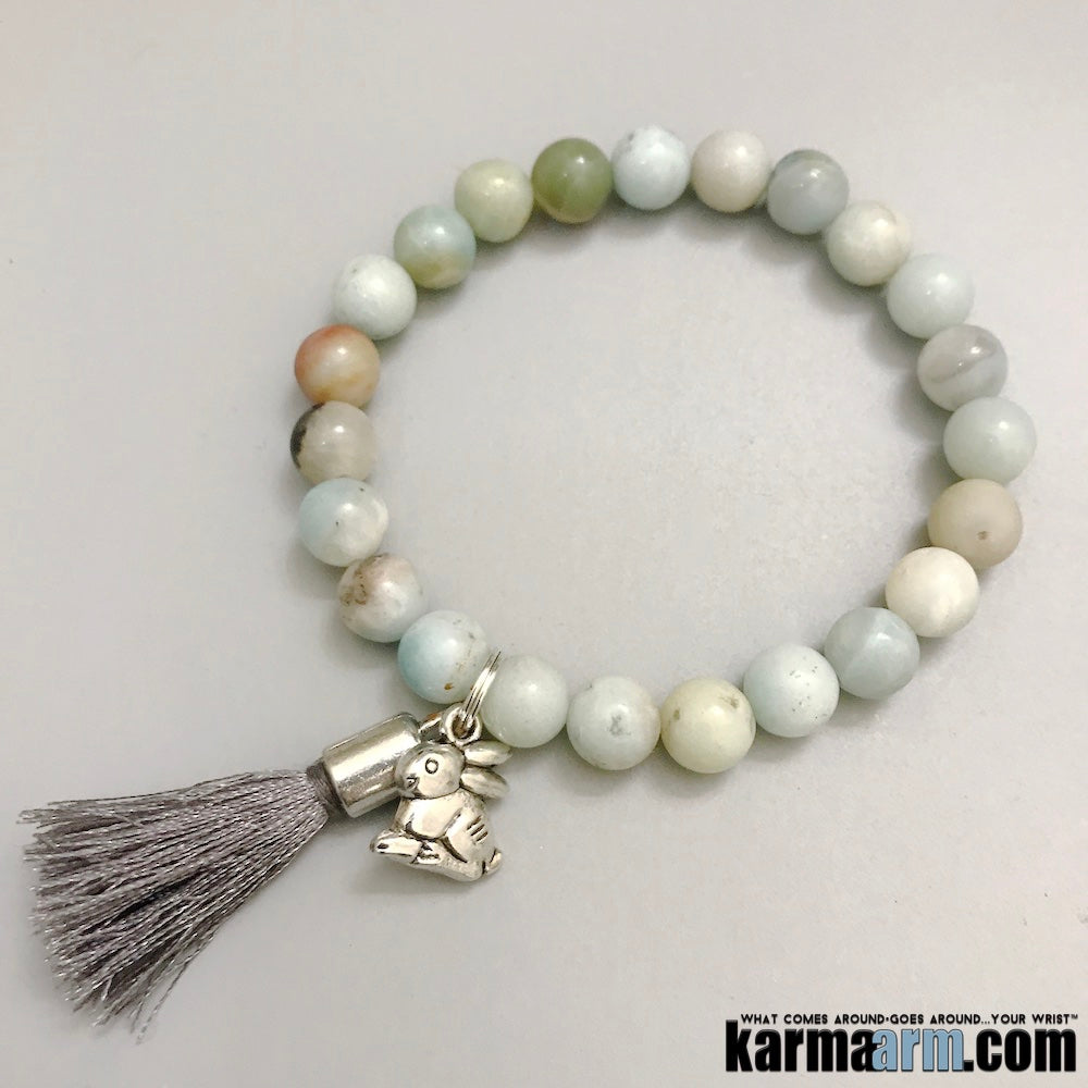 Charm Bracelets. Chakra Yoga Bracelet. Lucky Rabbit Tassel BoHo Tassel. Gifts Love Stretch Mala. Mens Beaded Jewelry.