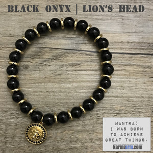 Charm Bracelets. Energy Healing. Handmade Men's Women's Luxury Beaded Mala & Jewelry. Law of Attraction. Manifest. #LOA. Black Onyx Lions Head.