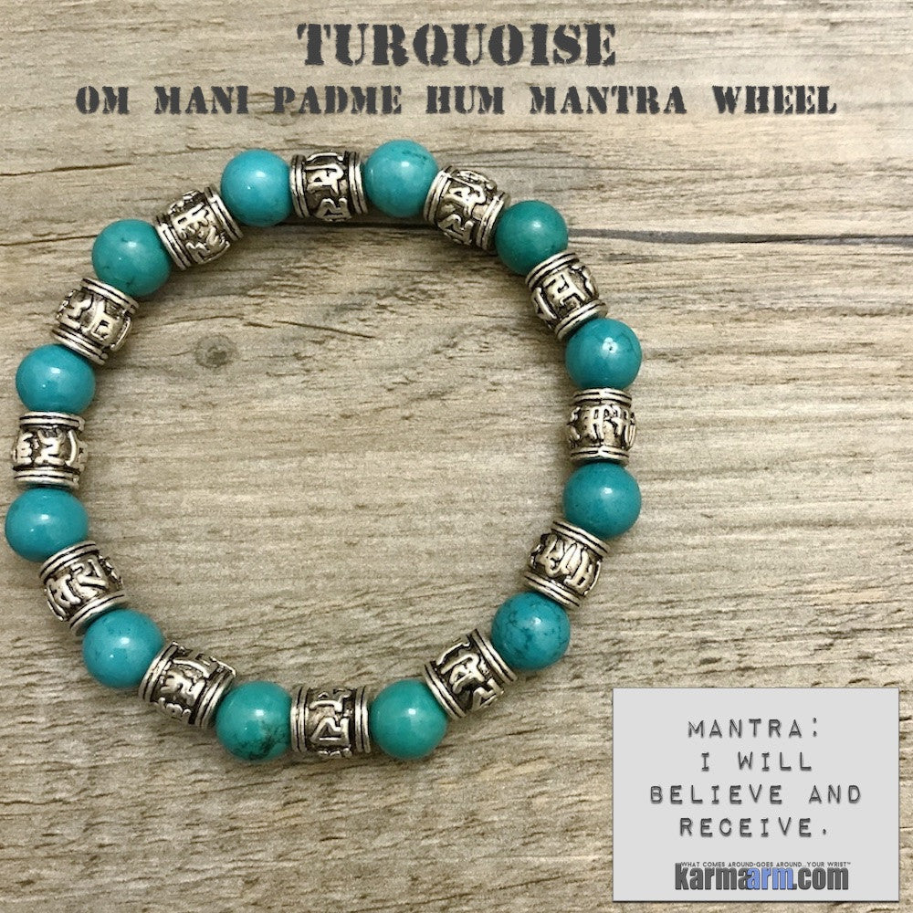 Charm Bracelets. Energy Healing. Handmade Men's Women's Luxury Beaded Mala & Jewelry. Law of Attraction. Manifest. #LOA. Blue Turquoise Om Mani Padme Hum.