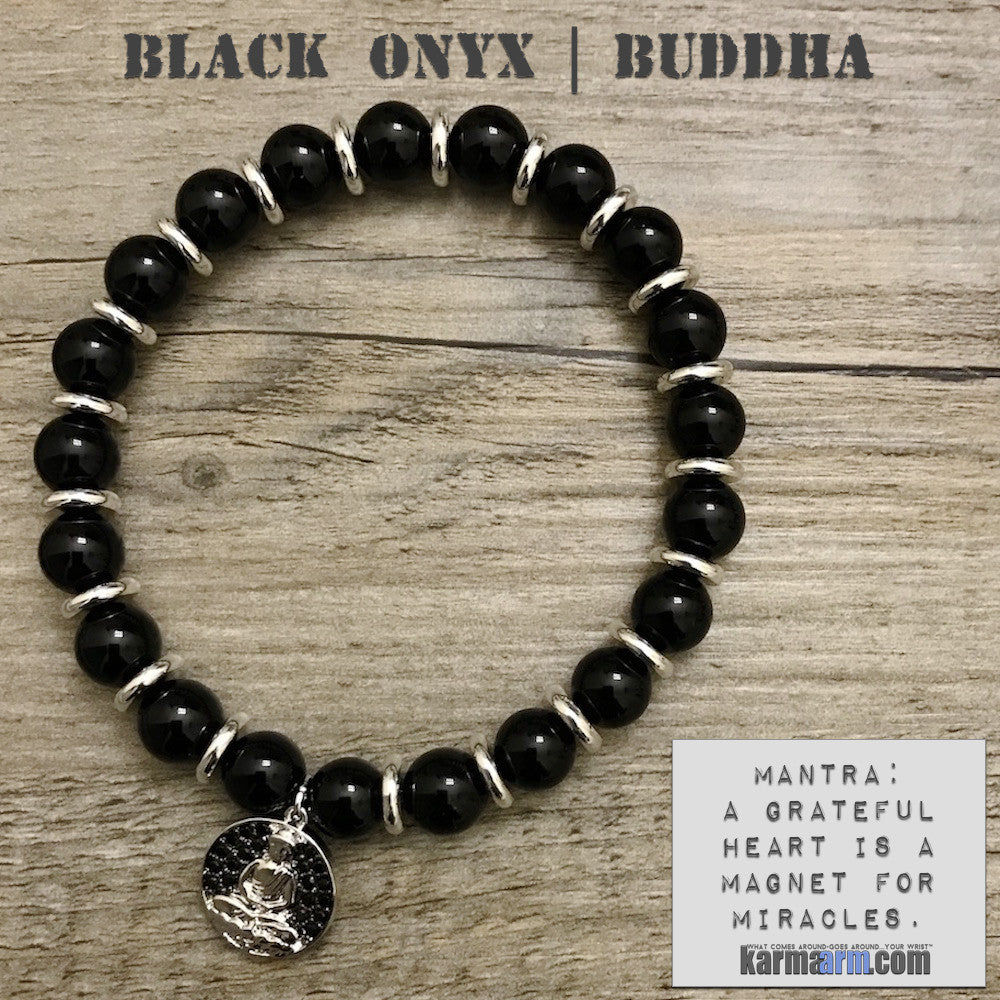 Charm Bracelets. Energy Healing. Handmade Men's Women's Luxury Beaded Mala & Jewelry. Law of Attraction. Manifest. #LOA. Buddha Black Onyx.