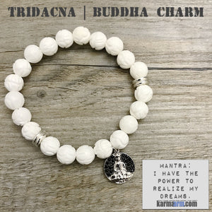 Charm Bracelets. Energy Healing. Handmade Men's Women's Luxury Beaded Mala & Jewelry. Law of Attraction. Manifest. #LOA. Lotus Flower Tridacna Buddha Pave Charm.