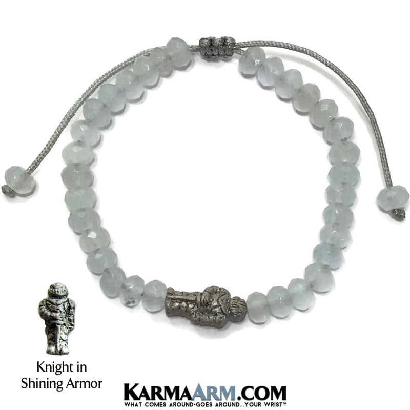 Charm bracelet. Knight in Armor yoga beaded chakra jewelry. Aquamarine.