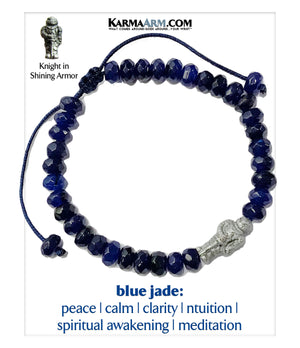 Charm bracelet. Knight in Armor yoga beaded chakra jewelry. Blue Jade.